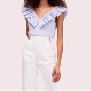 Kate Spade Ruffle Neck tie waist blouse